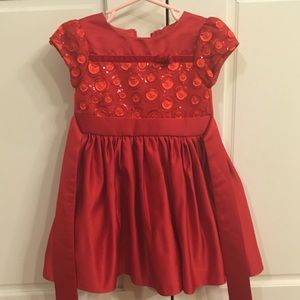 Toddler Girl Red Sequins Top Dress